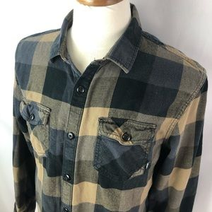Vans plaid flannel black yellow buttoned shirt L